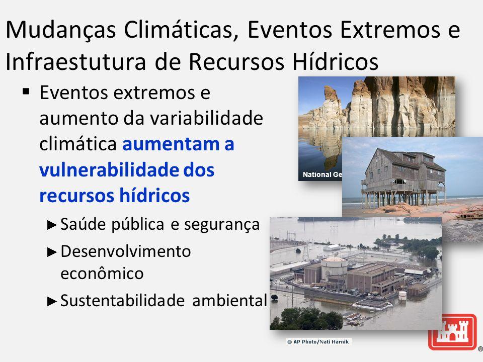 Mudanças Climáticas, Eventos Extremos e Infraestutura de Recursos Hídricos Eventos extremos e aumento da variabilidade climática aumentam a vulnerabilidade dos recursos hídricos Saúde pública e segurança Desenvolvimento econômico Sustentabilidade ambiental National Geographic