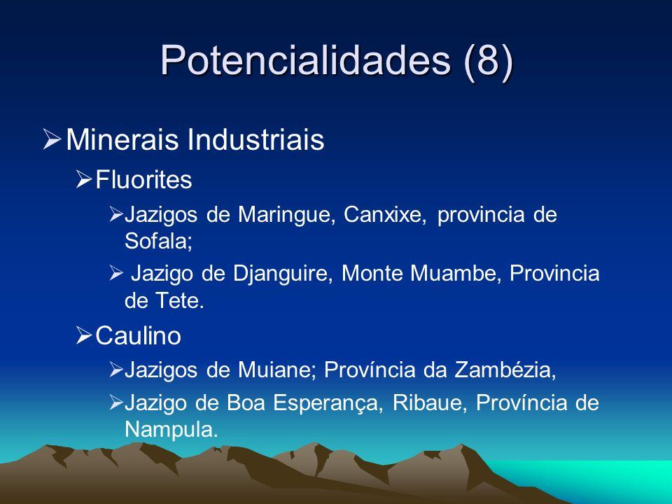 Potencialidades (8) Minerais Industriais Fluorites Jazigos de Maringue, Canxixe, provincia de Sofala; Jazigo de Djanguire, Monte Muambe, Provincia de