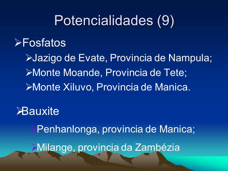 Potencialidades (9) Fosfatos Jazigo de Evate, Provincia de Nampula; Monte Moande, Provincia de Tete; Monte Xiluvo, Provincia de Manica. Bauxite Penhan