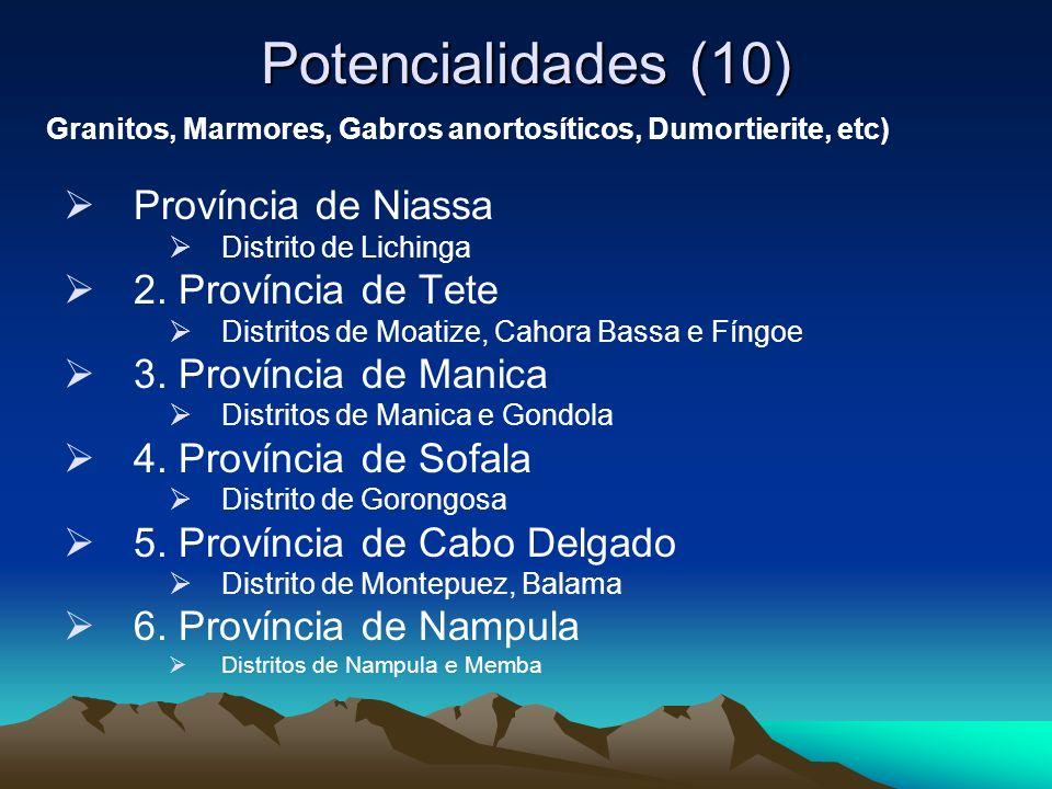 Potencialidades (10) Província de Niassa Distrito de Lichinga 2. Província de Tete Distritos de Moatize, Cahora Bassa e Fíngoe 3. Província de Manica