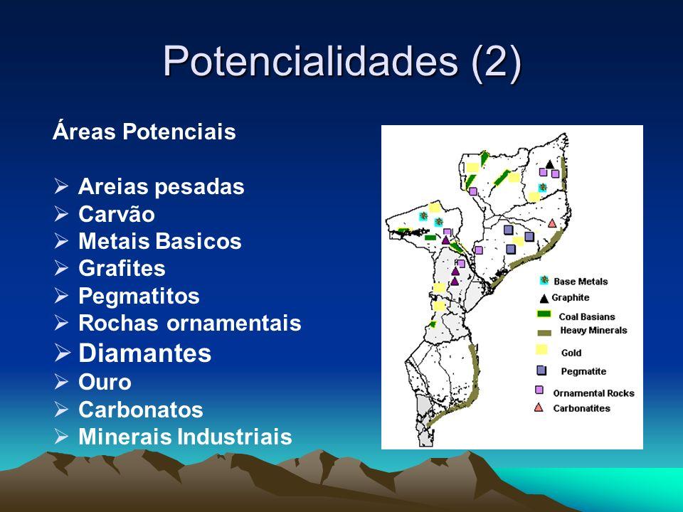 Potencialidades (2) Áreas Potenciais Areias pesadas Carvão Metais Basicos Grafites Pegmatitos Rochas ornamentais Diamantes Ouro Carbonatos Minerais In