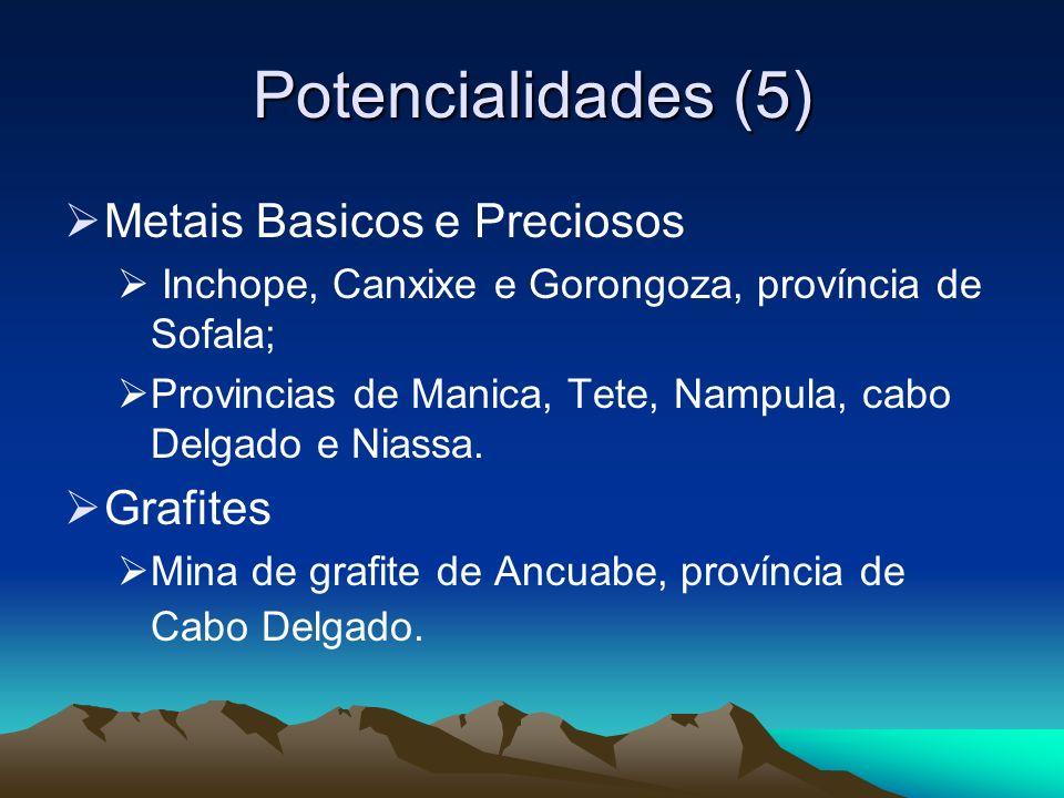 Potencialidades (5) Metais Basicos e Preciosos Inchope, Canxixe e Gorongoza, província de Sofala; Provincias de Manica, Tete, Nampula, cabo Delgado e