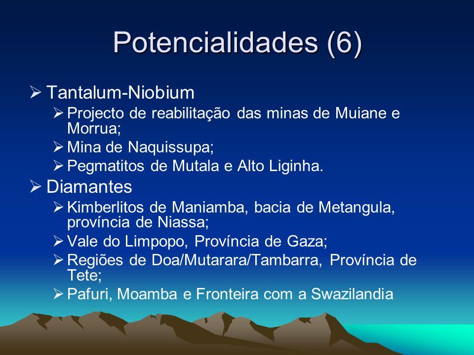 Potencialidades (6) Tantalum-Niobium Projecto de reabilitação das minas de Muiane e Morrua; Mina de Naquissupa; Pegmatitos de Mutala e Alto Liginha. D
