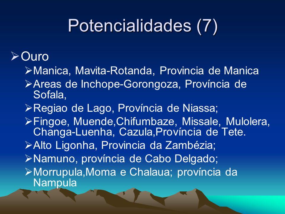 Potencialidades (8) Minerais Industriais Fluorites Jazigos de Maringue, Canxixe, provincia de Sofala; Jazigo de Djanguire, Monte Muambe, Provincia de Tete.