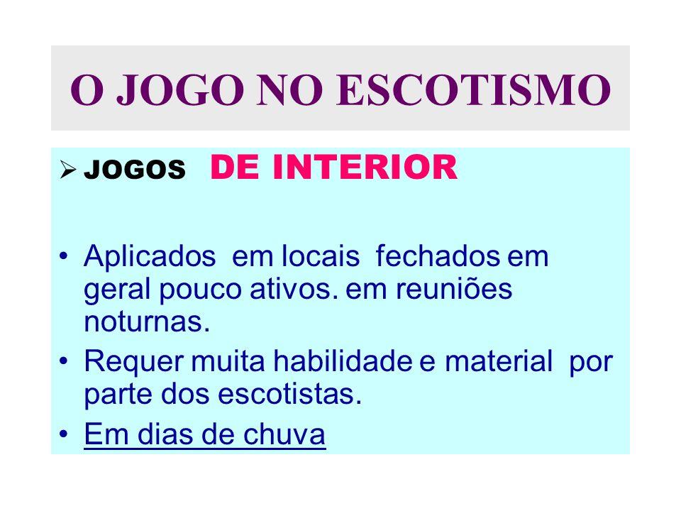 O JOGO NO ESCOTISMO JOGOS DE INTERIOR Aplicados em locais fechados em geral pouco ativos.