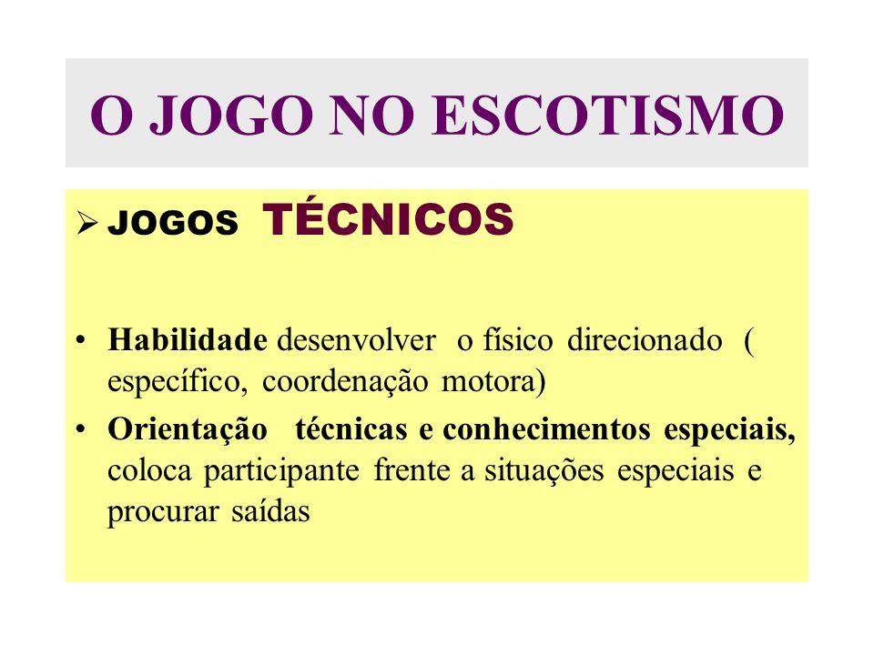 O JOGO NO ESCOTISMO JOGOS TÉCNICOS Habilidade desenvolver o físico direcionado ( específico, coordenação motora) Orientação técnicas e conhecimentos especiais, coloca participante frente a situações especiais e procurar saídas