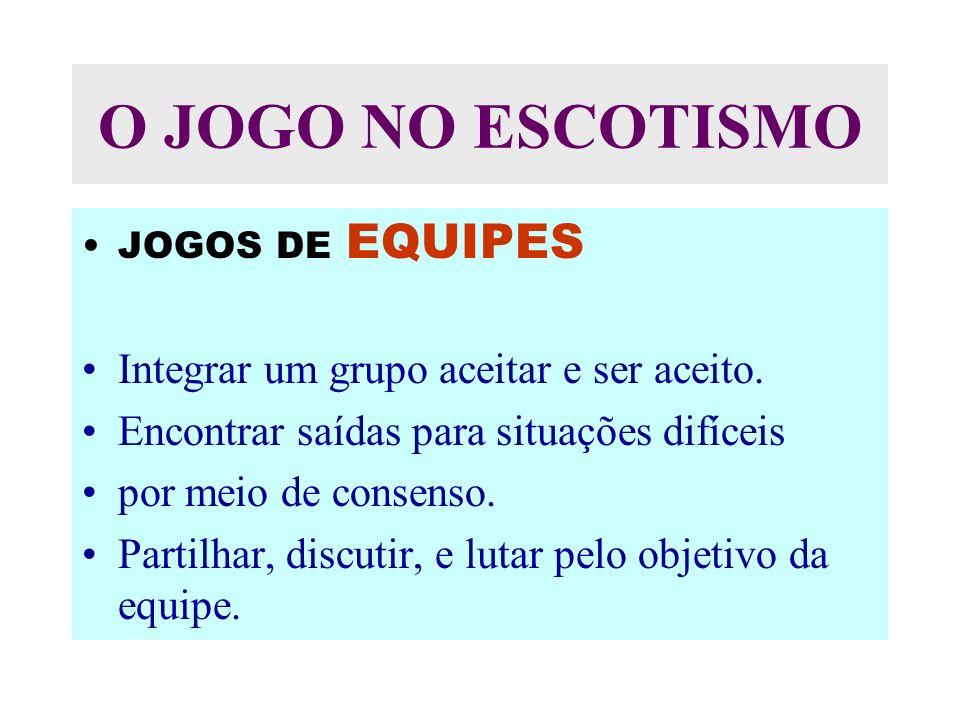 O JOGO NO ESCOTISMO JOGOS DE EQUIPES Integrar um grupo aceitar e ser aceito.