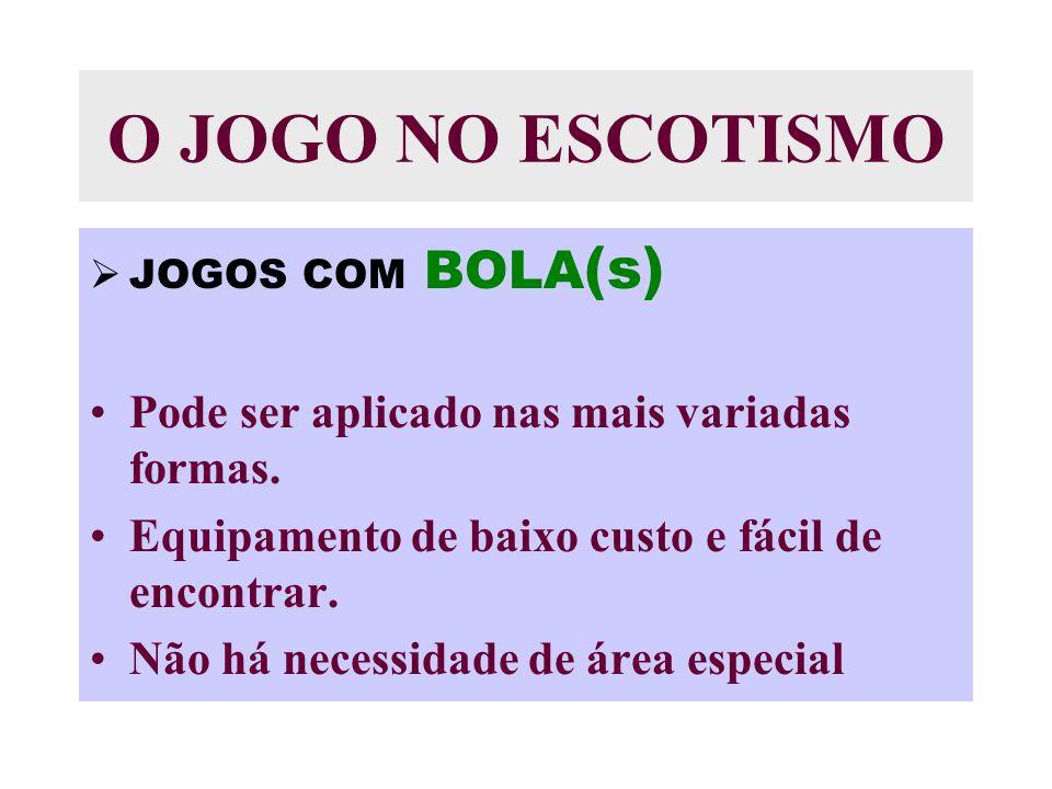 O JOGO NO ESCOTISMO JOGOS COM BOLA (s) Pode ser aplicado nas mais variadas formas.