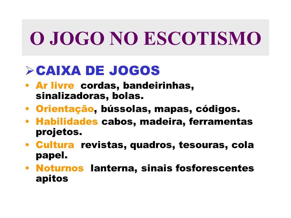 O JOGO NO ESCOTISMO CAIXA DE JOGOS Ar livre cordas, bandeirinhas, sinalizadoras, bolas.