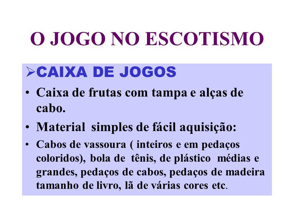 O JOGO NO ESCOTISMO CAIXA DE JOGOS Caixa de frutas com tampa e alças de cabo.
