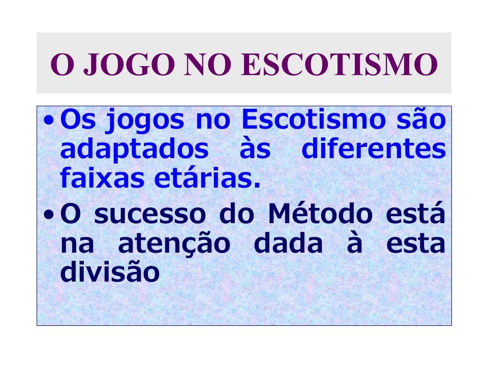 O JOGO NO ESCOTISMO Os jogos no Escotismo são adaptados às diferentes faixas etárias.