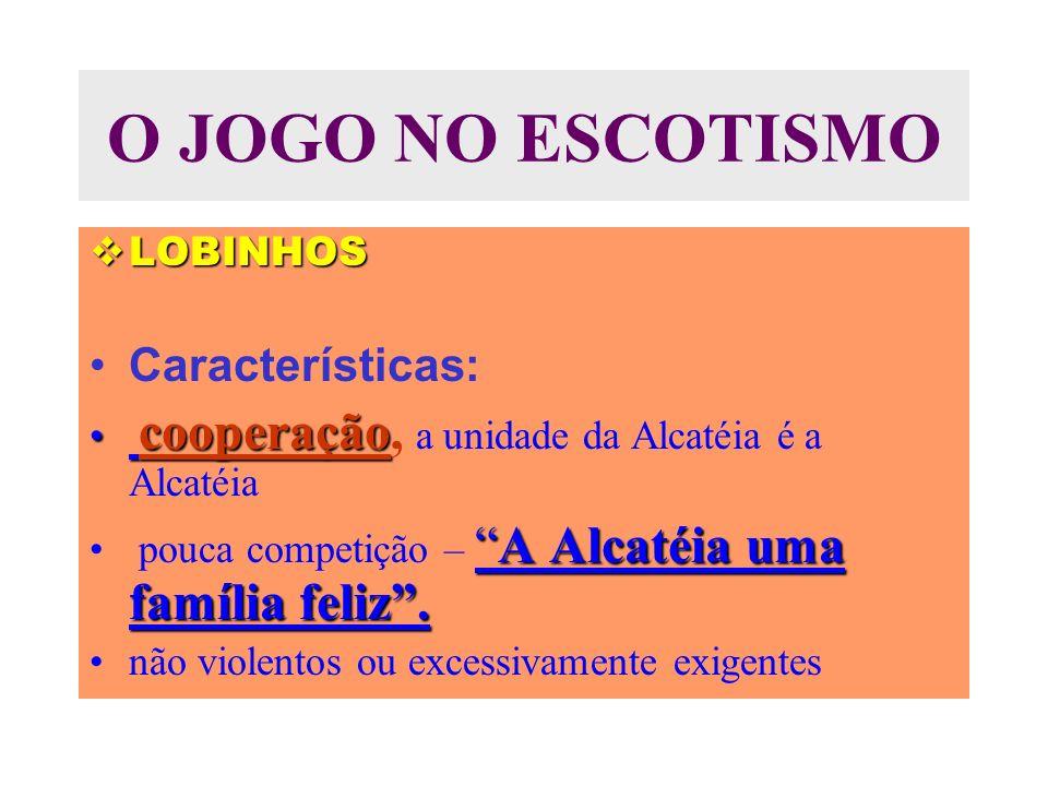 O JOGO NO ESCOTISMO LOBINHOS LOBINHOS Características: cooperação cooperação, a unidade da Alcatéia é a Alcatéia A Alcatéia uma família feliz.