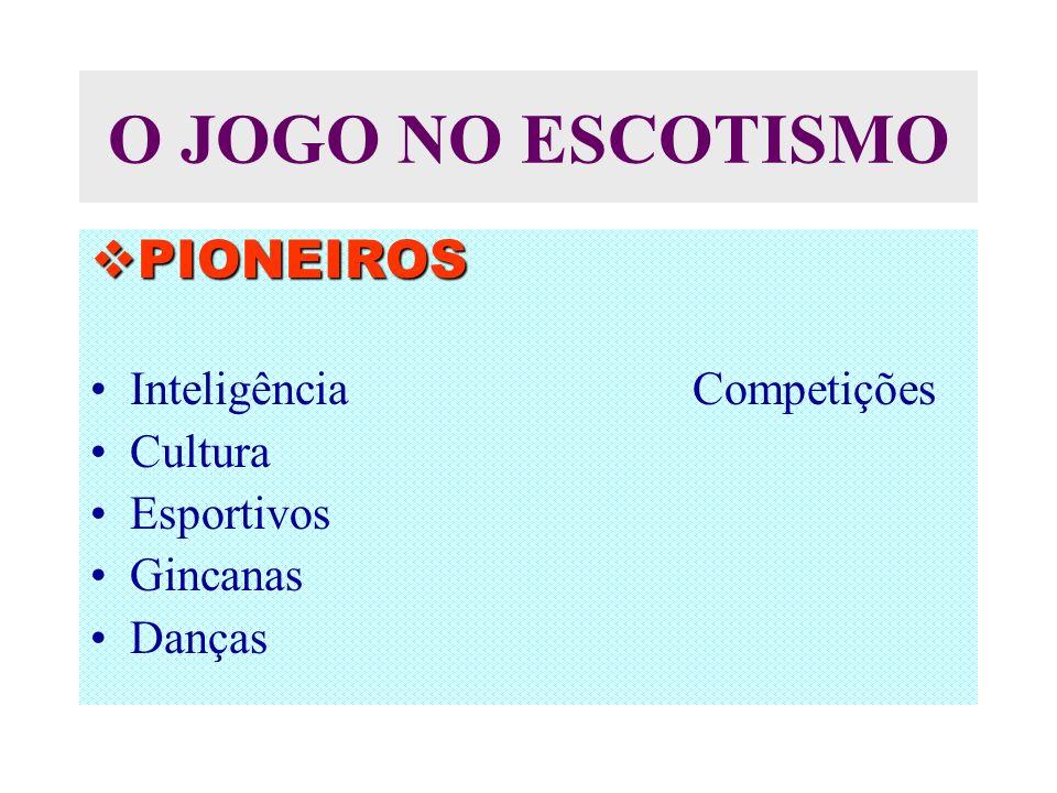 O JOGO NO ESCOTISMO PIONEIROS PIONEIROS Inteligência Competições Cultura Esportivos Gincanas Danças