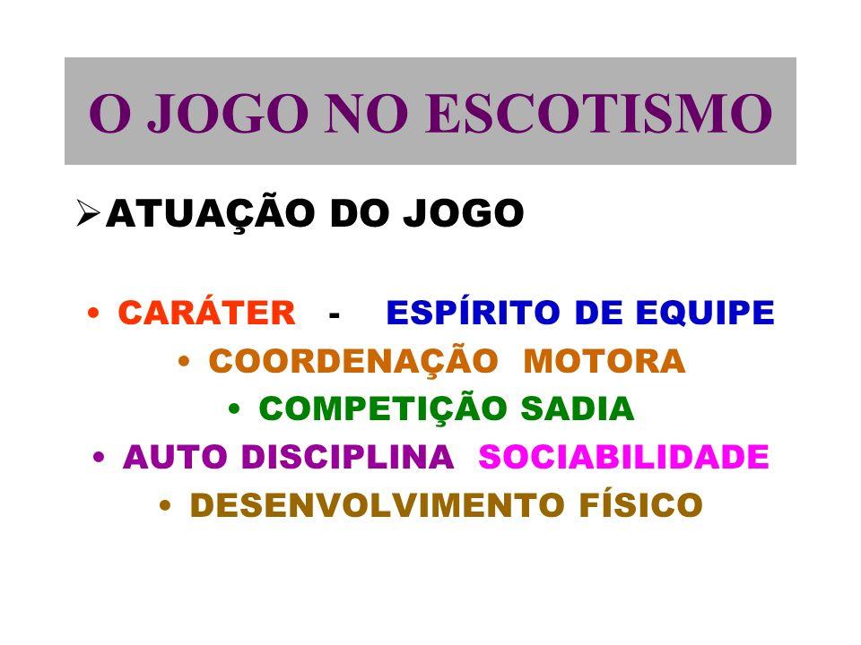 O JOGO NO ESCOTISMO ATUAÇÃO DO JOGO CARÁTER - ESPÍRITO DE EQUIPE COORDENAÇÃO MOTORA COMPETIÇÃO SADIA AUTO DISCIPLINA SOCIABILIDADE DESENVOLVIMENTO FÍSICO