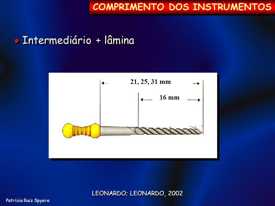 Patrícia Ruiz Spyere 21, 25, 31 mm 16 mm LEONARDO; LEONARDO, 2002 COMPRIMENTO DOS INSTRUMENTOS Intermediário + lâmina