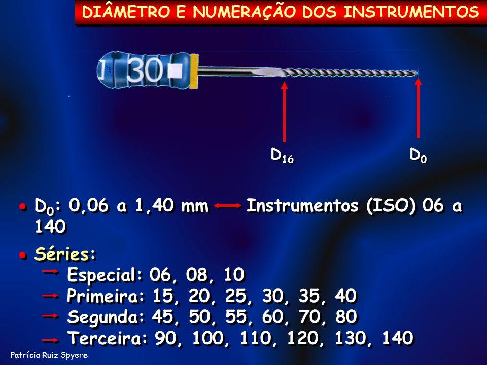 Patrícia Ruiz Spyere D 16 D0D0 D0D0 DIÂMETRO E NUMERAÇÃO DOS INSTRUMENTOS D 0 : 0,06 a 1,40 mm Instrumentos (ISO) 06 a 140 Séries: Especial: 06, 08, 1