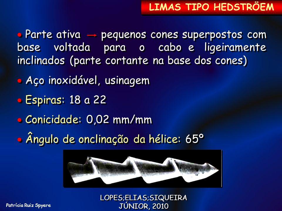 Patrícia Ruiz Spyere LIMAS TIPO HEDSTRÖEM Parte ativa pequenos cones superpostos com base voltada para o cabo e ligeiramente inclinados (parte cortant