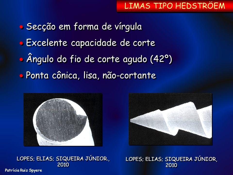 Patrícia Ruiz Spyere LIMAS TIPO HEDSTRÖEM LOPES; ELIAS; SIQUEIRA JÚNIOR, 2010 Secção em forma de vírgula Excelente capacidade de corte Ângulo do fio d