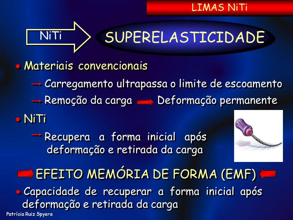 Patrícia Ruiz Spyere LIMAS NiTi NiTi Recupera a forma inicial após deformação e retirada da carga NiTi Recupera a forma inicial após deformação e reti