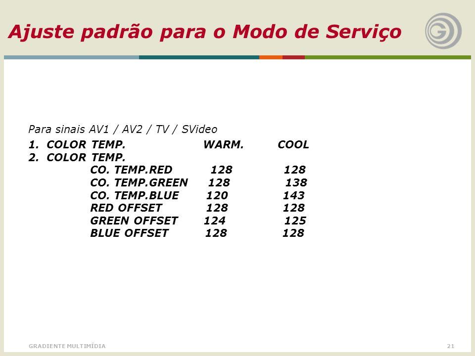 21GRADIENTE MULTIMÍDIA Ajuste padrão para o Modo de Serviço Para sinais AV1 / AV2 / TV / SVideo 1. COLOR TEMP. WARM. COOL 2. COLOR TEMP. CO. TEMP.RED
