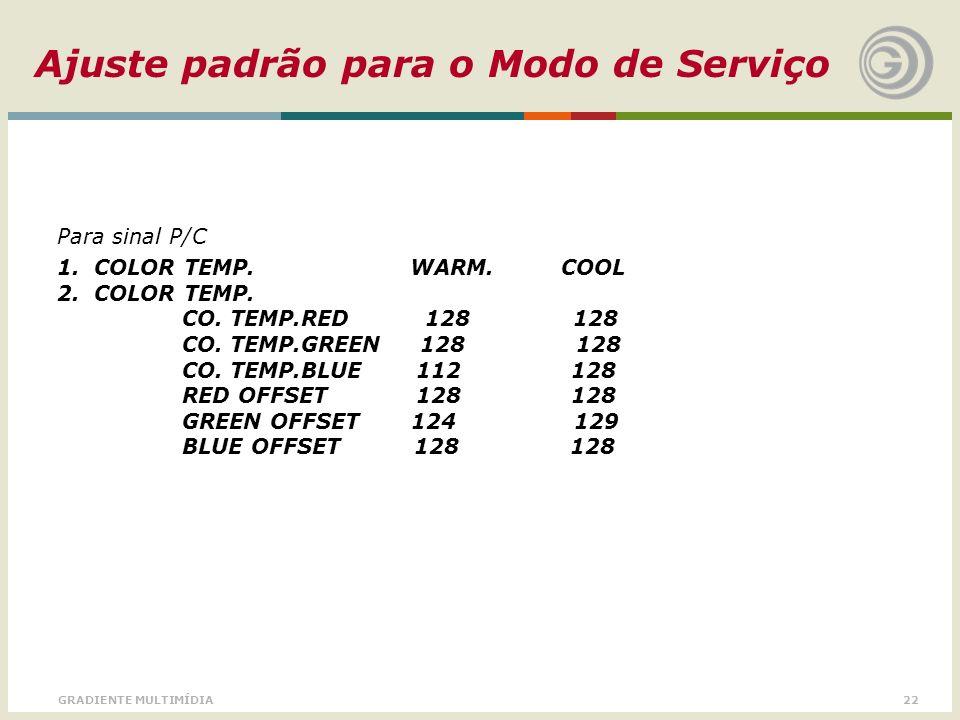 22GRADIENTE MULTIMÍDIA Para sinal P/C 1. COLOR TEMP. WARM. COOL 2. COLOR TEMP. CO. TEMP.RED 128 128 CO. TEMP.GREEN 128 128 CO. TEMP.BLUE 112 128 RED O