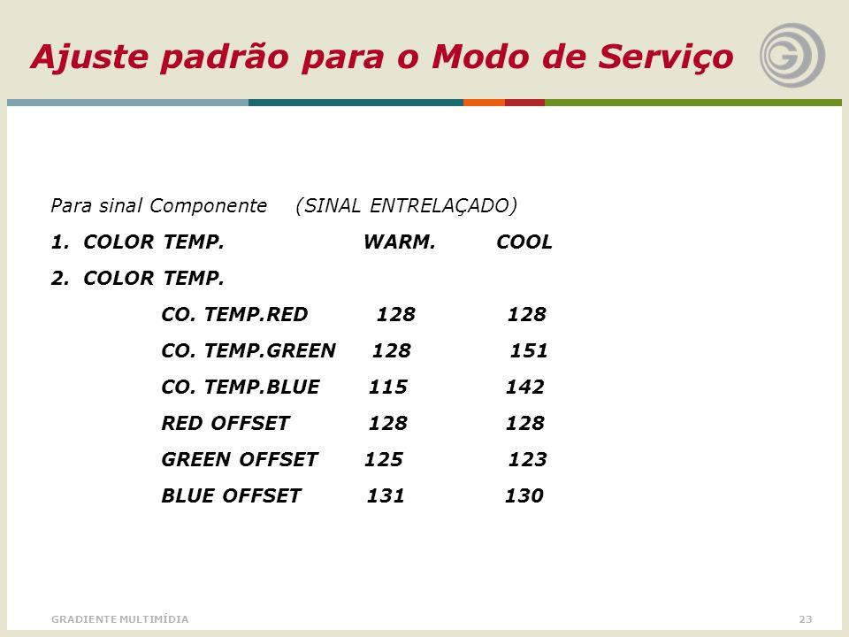 23GRADIENTE MULTIMÍDIA Ajuste padrão para o Modo de Serviço Para sinal Componente (SINAL ENTRELAÇADO) 1. COLOR TEMP. WARM. COOL 2. COLOR TEMP. CO. TEM
