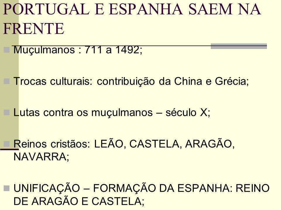 PORTUGAL E ESPANHA SAEM NA FRENTE Muçulmanos : 711 a 1492; Trocas culturais: contribuição da China e Grécia; Lutas contra os muçulmanos – século X; Re