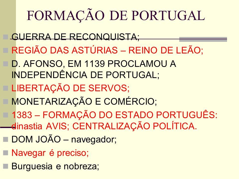 FORMAÇÃO DE PORTUGAL GUERRA DE RECONQUISTA; REGIÃO DAS ASTÚRIAS – REINO DE LEÃO; D. AFONSO, EM 1139 PROCLAMOU A INDEPENDÊNCIA DE PORTUGAL; LIBERTAÇÃO