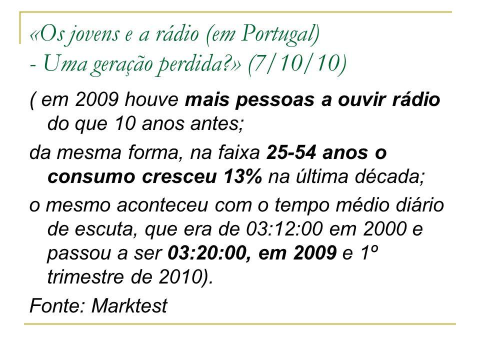 «Os jovens e a rádio (em Portugal) - Uma geração perdida » (7/10/10) ( em 2009 houve mais pessoas a ouvir rádio do que 10 anos antes; da mesma forma, na faixa 25-54 anos o consumo cresceu 13% na última década; o mesmo aconteceu com o tempo médio diário de escuta, que era de 03:12:00 em 2000 e passou a ser 03:20:00, em 2009 e 1º trimestre de 2010).