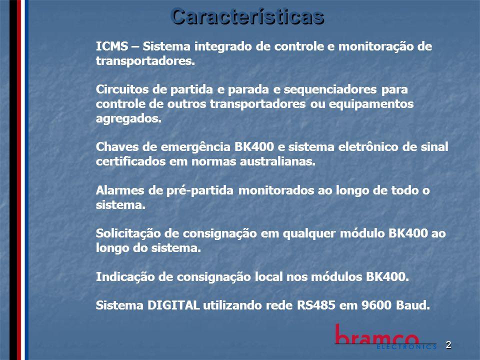 2 Características ICMS – Sistema integrado de controle e monitoração de transportadores. Circuitos de partida e parada e sequenciadores para controle