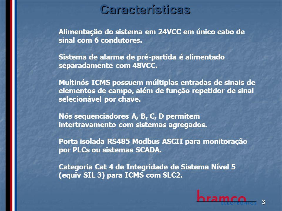 3 Características Alimentação do sistema em 24VCC em único cabo de sinal com 6 condutores. Sistema de alarme de pré-partida é alimentado separadamente