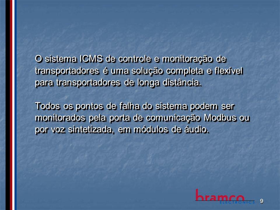 9 O sistema ICMS de controle e monitoração de transportadores é uma solução completa e flexível para transportadores de longa distância. Todos os pont
