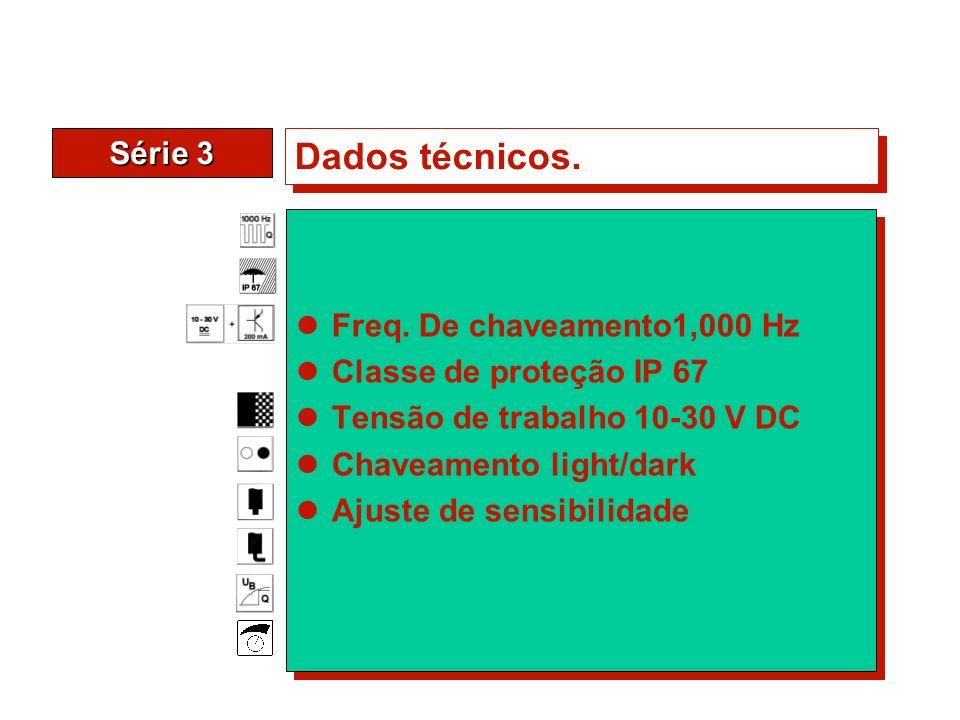 Série 3 Dados técnicos. Freq. De chaveamento1,000 Hz Classe de proteção IP 67 Tensão de trabalho 10-30 V DC Chaveamento light/dark Ajuste de sensibili