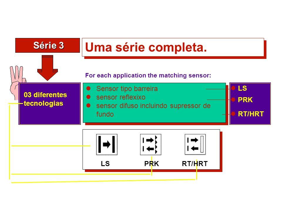 Série 3 Série 3 Uma série completa. Sensor tipo barreira sensor reflexixo sensor difuso incluindo supressor de fundo Sensor tipo barreira sensor refle