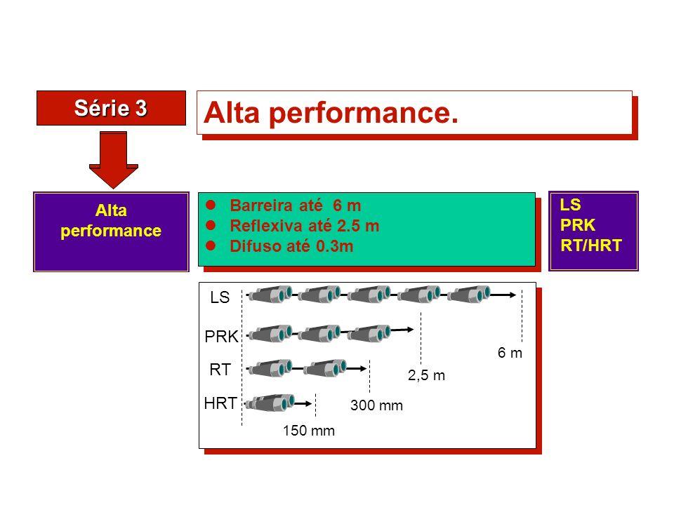 Série 3 Alta performance. Barreira até 6 m Reflexiva até 2.5 m Difuso até 0.3m Barreira até 6 m Reflexiva até 2.5 m Difuso até 0.3m Alta performance 6
