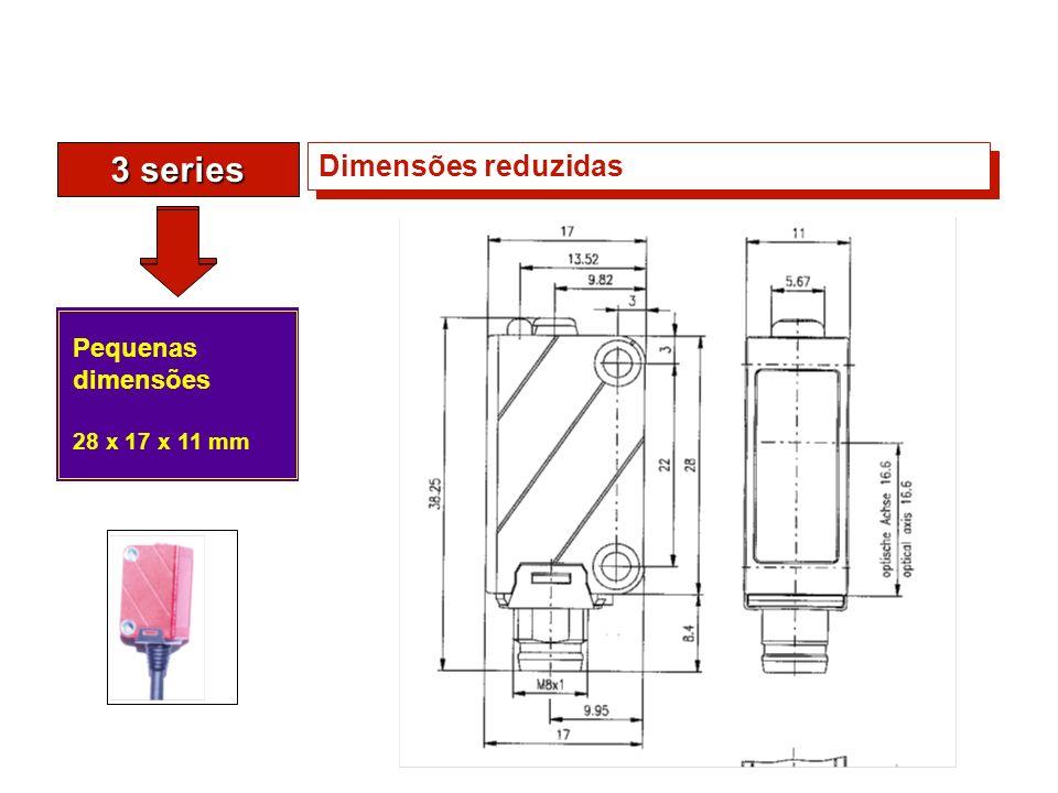3 series Pequenas dimensões 28 x 17 x 11 mm Dimensões reduzidas