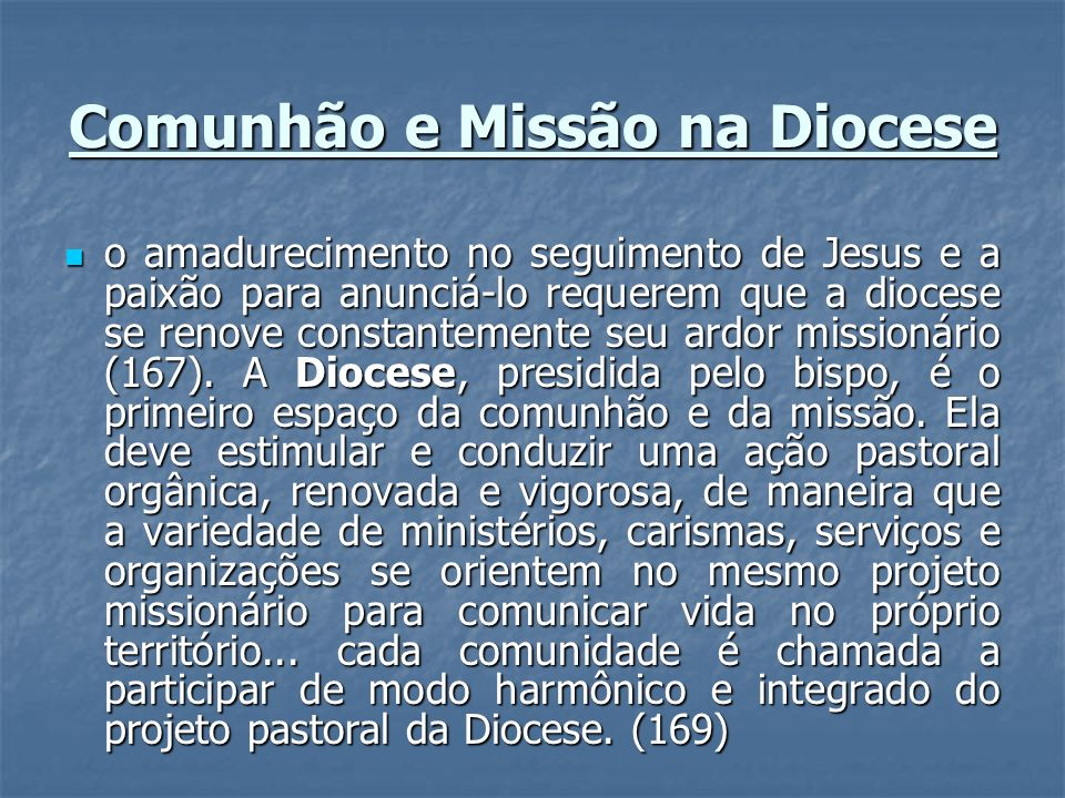 Comunhão e Missão na Diocese o amadurecimento no seguimento de Jesus e a paixão para anunciá-lo requerem que a diocese se renove constantemente seu ar