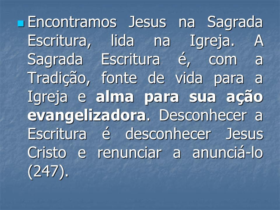 Encontramos Jesus na Sagrada Escritura, lida na Igreja. A Sagrada Escritura é, com a Tradição, fonte de vida para a Igreja e alma para sua ação evange