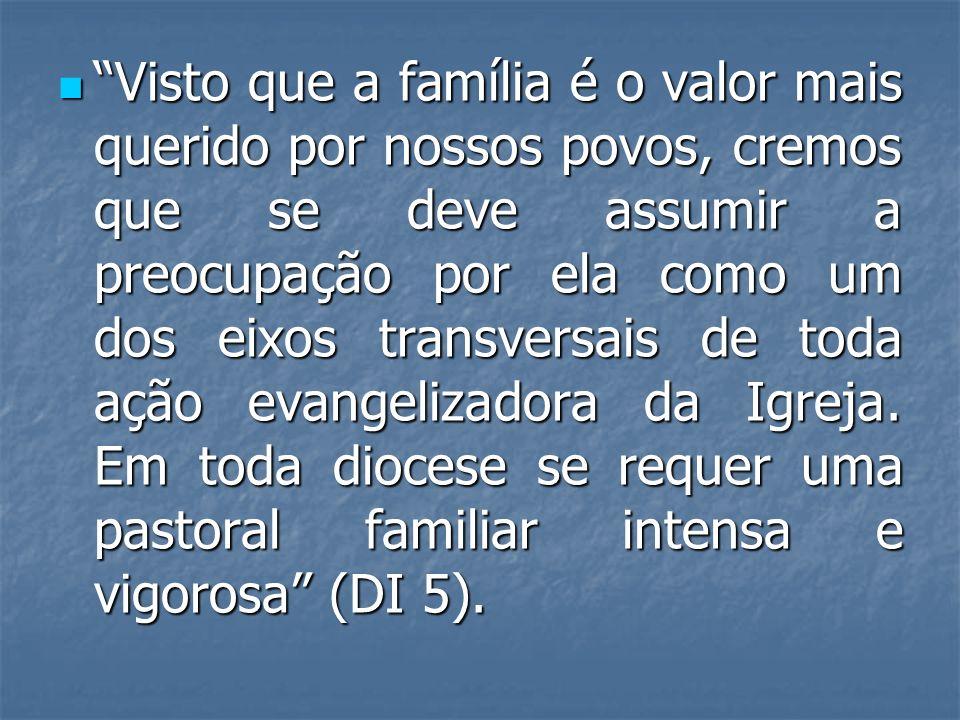 Visto que a família é o valor mais querido por nossos povos, cremos que se deve assumir a preocupação por ela como um dos eixos transversais de toda a