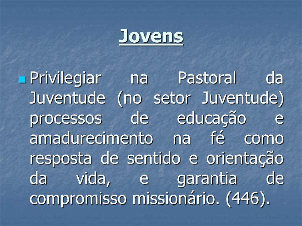 Jovens Privilegiar na Pastoral da Juventude (no setor Juventude) processos de educação e amadurecimento na fé como resposta de sentido e orientação da