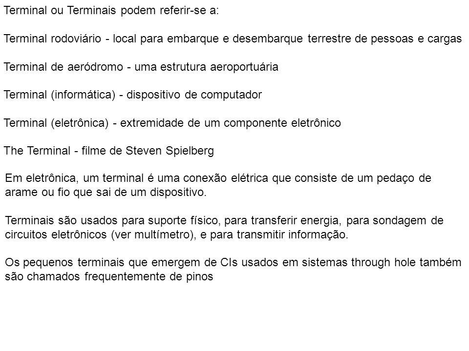 Terminal ou Terminais podem referir-se a: Terminal rodoviário - local para embarque e desembarque terrestre de pessoas e cargas Terminal de aeródromo