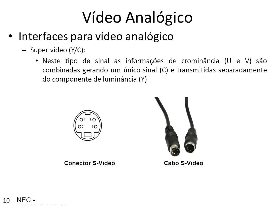 100 Vídeo Analógico Interfaces para vídeo analógico – Super vídeo (Y/C): Neste tipo de sinal as informações de crominância (U e V) são combinadas gera