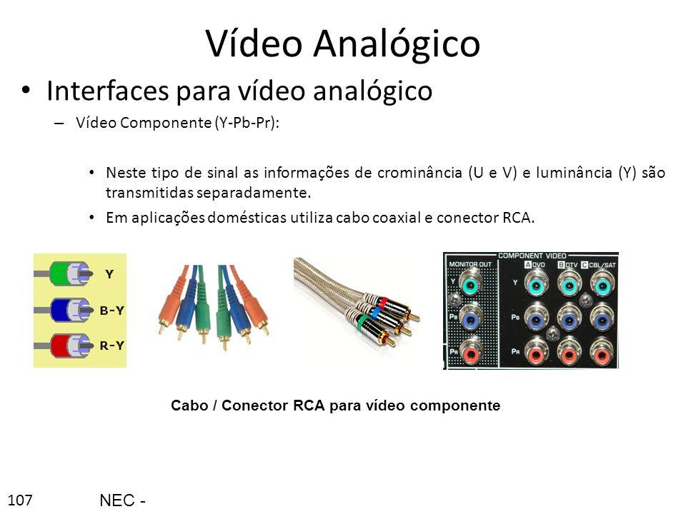 107 Vídeo Analógico Interfaces para vídeo analógico – Vídeo Componente (Y-Pb-Pr): Neste tipo de sinal as informações de crominância (U e V) e luminânc