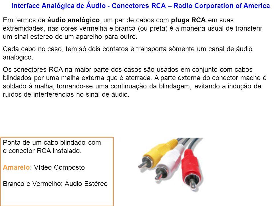 Interface Analógica de Áudio - Conectores RCA – Radio Corporation of America Ponta de um cabo blindado com o conector RCA instalado. Amarelo: Vídeo Co