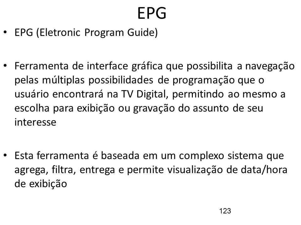 123 EPG EPG (Eletronic Program Guide) Ferramenta de interface gráfica que possibilita a navegação pelas múltiplas possibilidades de programação que o