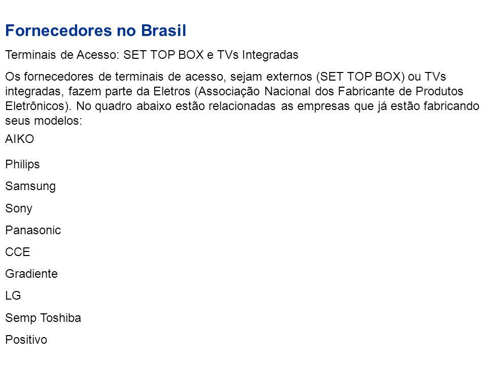 Fornecedores no Brasil Terminais de Acesso: SET TOP BOX e TVs Integradas Os fornecedores de terminais de acesso, sejam externos (SET TOP BOX) ou TVs i