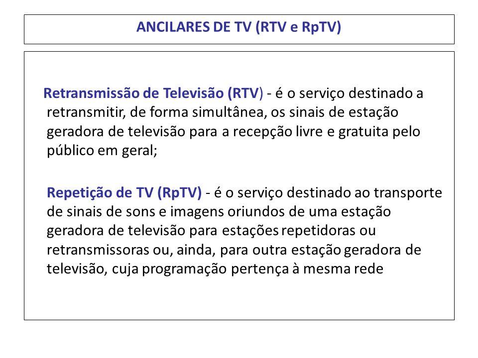 ANCILARES DE TV (RTV e RpTV) Retransmissão de Televisão (RTV) - é o serviço destinado a retransmitir, de forma simultânea, os sinais de estação gerado