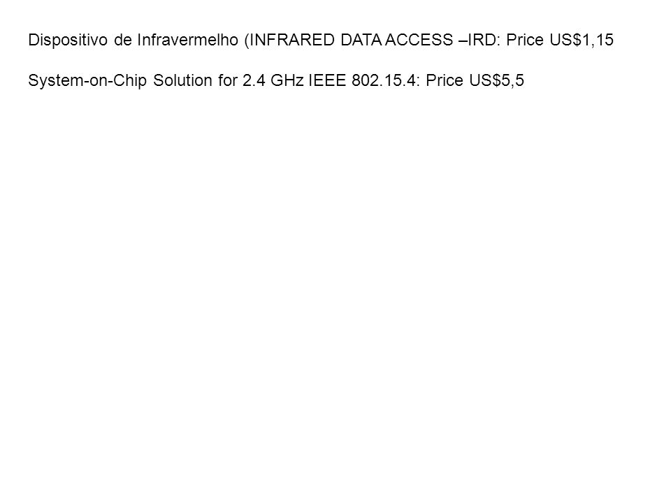 Dispositivo de Infravermelho (INFRARED DATA ACCESS –IRD: Price US$1,15 System-on-Chip Solution for 2.4 GHz IEEE 802.15.4: Price US$5,5