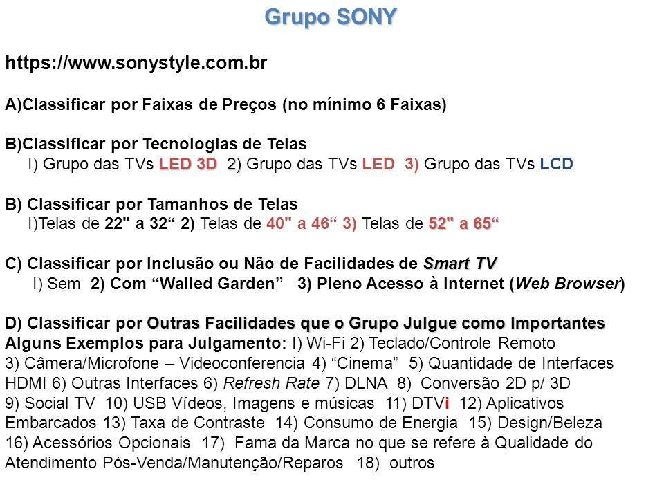 Grupo SONY https://www.sonystyle.com.br A)Classificar por Faixas de Preços (no mínimo 6 Faixas) B)Classificar por Tecnologias de Telas LED 3D 2) I) Gr