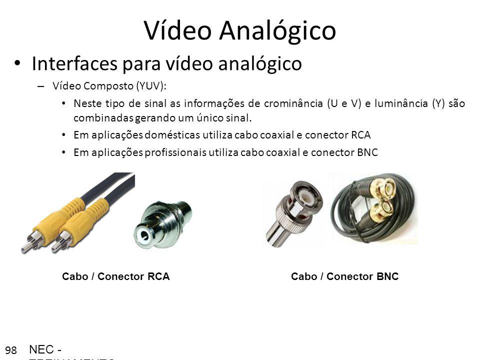 98 Vídeo Analógico Interfaces para vídeo analógico – Vídeo Composto (YUV): Neste tipo de sinal as informações de crominância (U e V) e luminância (Y)